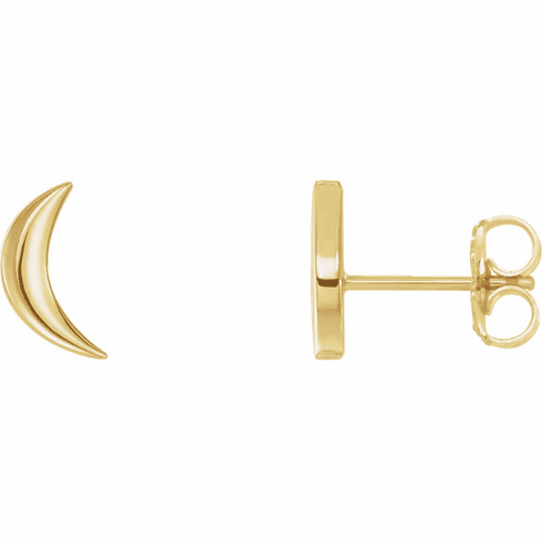 14K Crescent Moon Stud Earrings - Click to enlarge