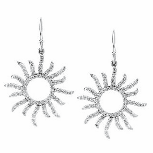 14K Diamond Beaming Sun Earrings