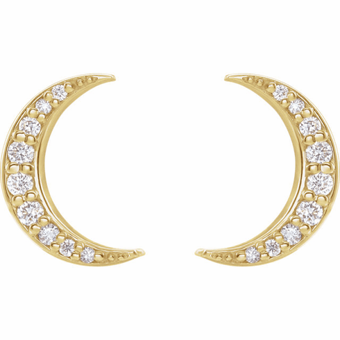 14K Diamond Crescent Moon Earrings