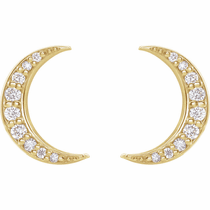 14K Diamond Crescent Moon Earrings - Click to enlarge
