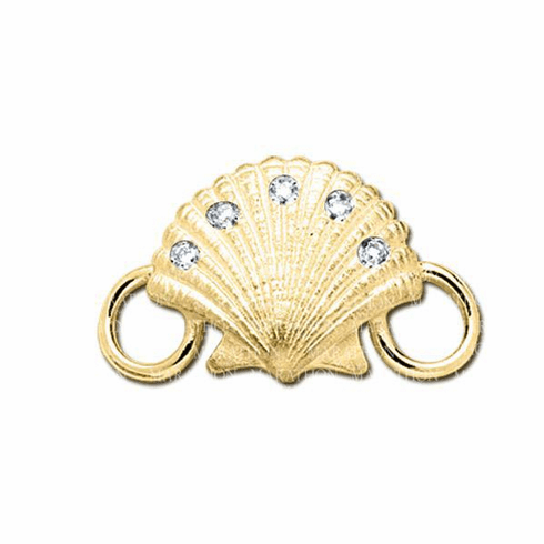 14K Scallop Shell with Diamond Convertible Clasp