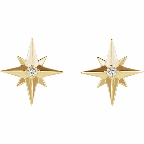 14K  Star & Diamond Earrings