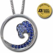 14K White Gold  Nature Graduated Blue Sapphire Wave 20mm Pendant