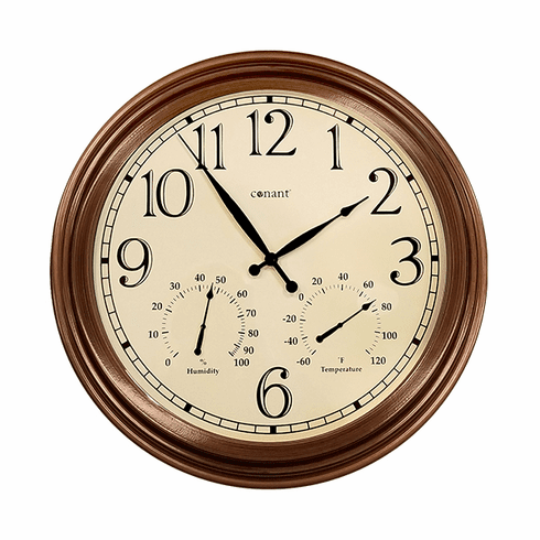 """18"""" Wall Clock with Thermometer-Hygrometer"""
