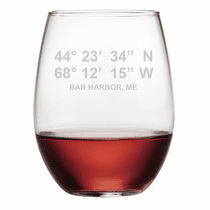 Acrylic Latitude Longitude Stemless Wine Glasses - Click to enlarge