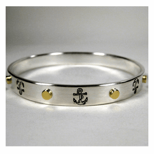 Anchor Sterling & 18K Bangle Bracelet