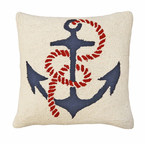 Anchors Away Hooked Pillow