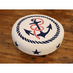Anchors Away Hooked Wool Round Ottoman
