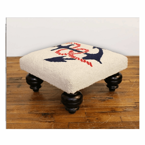Anchors Away Hooked Wool Square Ottoman