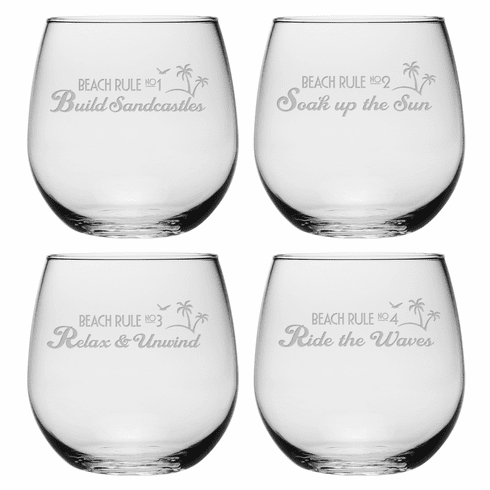 Beach Rules Stemless Wine Glasses