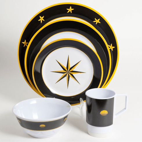 Black Compass Melamine Dinnerware Set