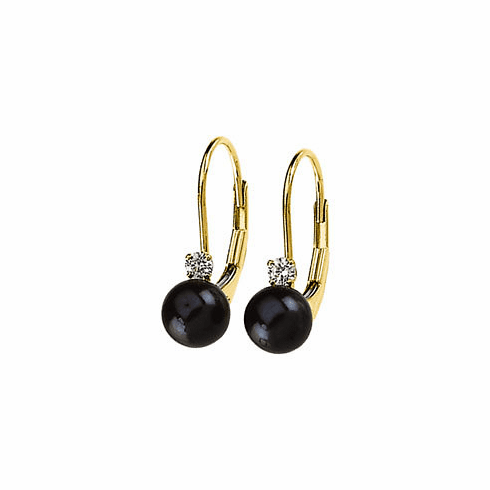 Black Pearl & Diamond Lever-Back Earrings