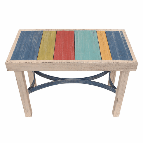 Blue China Slat Bench