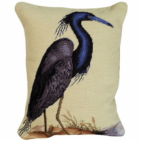 Blue Heron Needlepoint Pillow<br > Free Shipping!