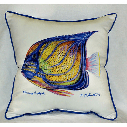 Blue Ring Angel Fish Indoor and Outdoor Pillow