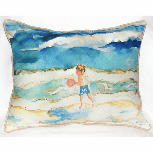 Boy and Ball Indoor and Outdoor Pillow
