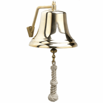 "Brass 8"" Bell with White Monkey's Fist Lanyard - Click to enlarge"