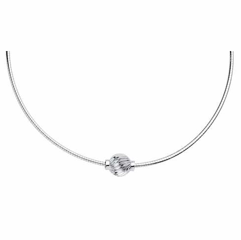 Cape Cod Sterling Swirl Ball Omega Necklace