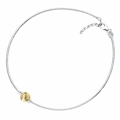 Cape Cod Yellow Gold Swirl Ball Anklet