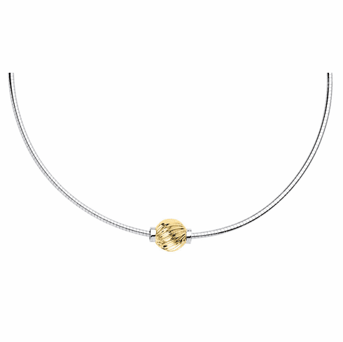 Cape Cod Yellow Gold Swirl Ball Omega Necklace