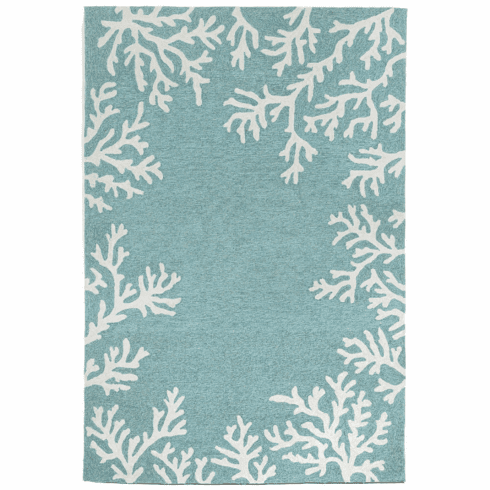 Capri Coral Aqua Border Indoor Outdoor Rug
