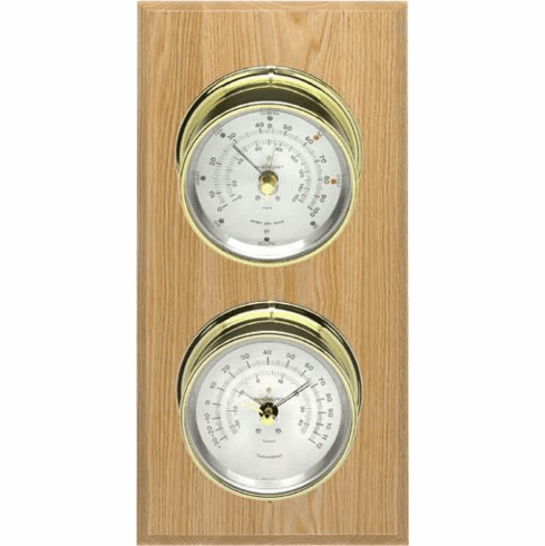 Catalina Brass, Silver Dials & Oak Weather Station