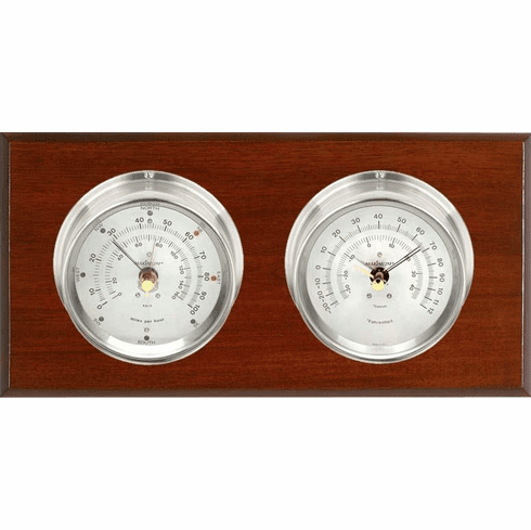 Catalina Nickle, Silver Dials & Mahogany Weather Station