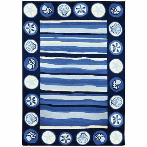 Coastal Stripes & Shells Indoor/Outdoor Rugs