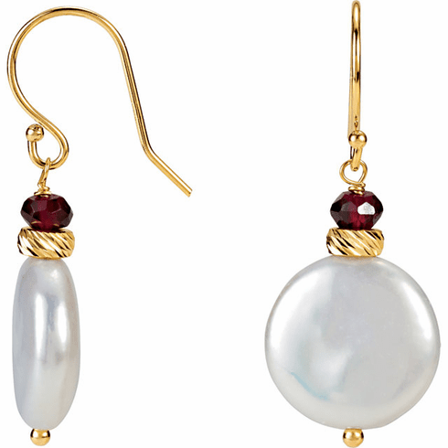 Coin Pearl & Rhodolite Garnet Earrings