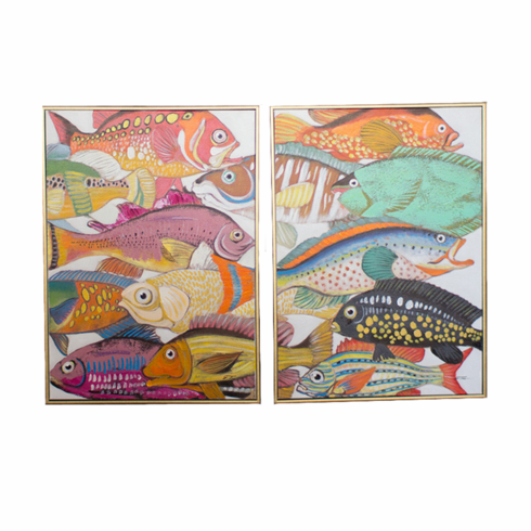 Colorful Fish Oil Paintings - Set of 2