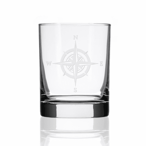 Compass Rose Double Old Fashioned Glasses