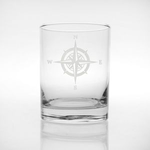 Compass Rose Double Old Fashion Glasses - Click to enlarge