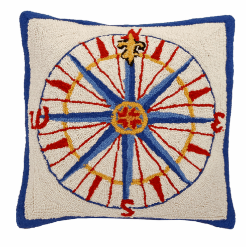 Compass Rose Hooked Pillow