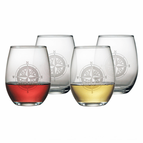 Compass Rose Stemless Wine Glasses