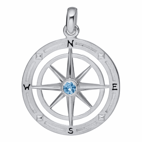 Compass Rose with Blue Topaz Necklace