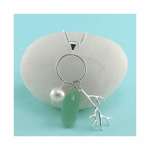 Coral Sea Glass Charm Necklace