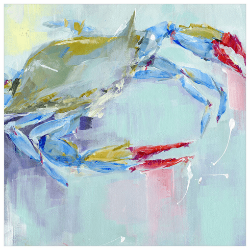 Crab Blue Wrapped Canvas