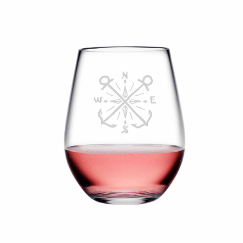 Crossed Anchor Compass Tritan Shatterproof Stemless Wine Tumblers