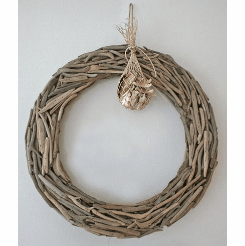 Driftwood Wreath with a Bag of Shells