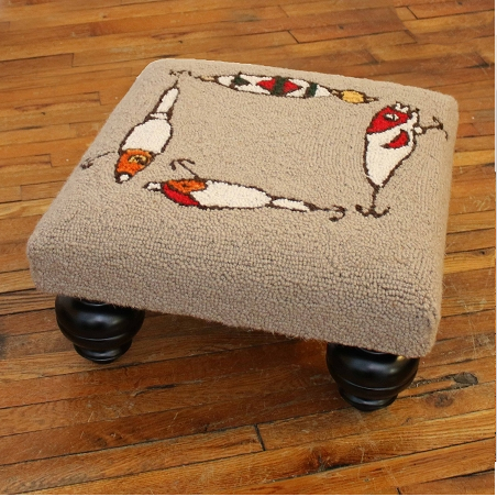 Fishing Rod Hooked Wool Stool - Click to enlarge