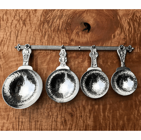 Fleur de Lys Pewter Measuring Cups with Wall Strip