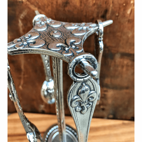 Fleur de Lys Pewter Measuring Spoons with Counter Top Post