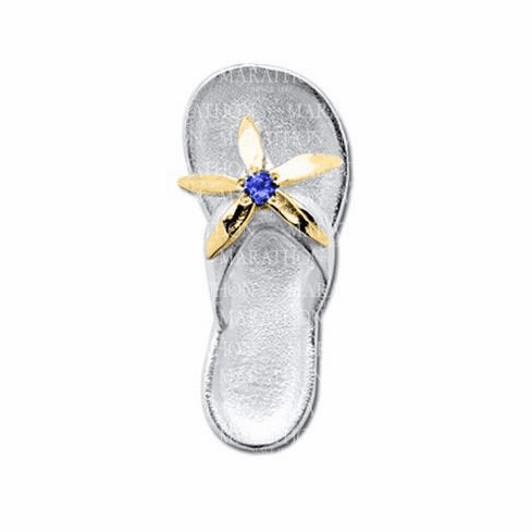 Flip Flop with 14K & Sapphire Convertible Clasp