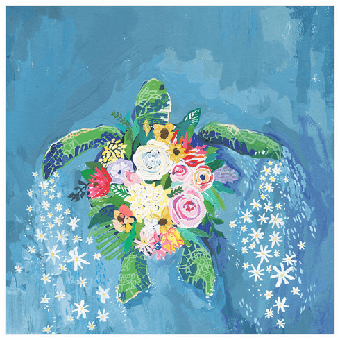 Flora and Sea Turtle Wrapped Canvas