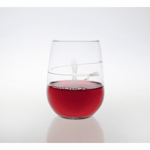 Fly Fishing Stemless Wine Glasses