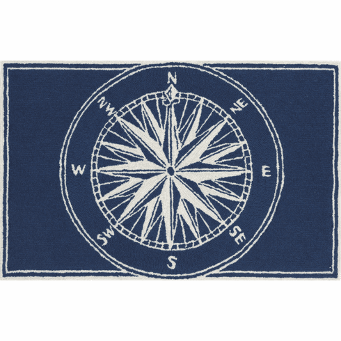 Frontporch Compass Navy Rug