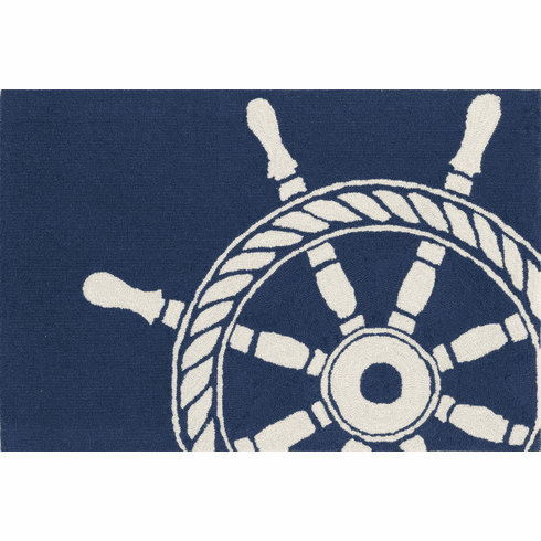 Front Porch Navy Ship Wheel Rug