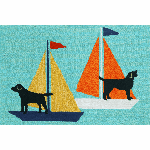 Front Porch Sailing Dogs Blue Rug