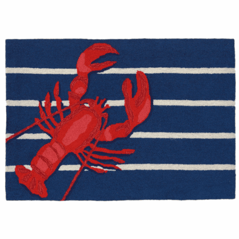 Frontporch Lobster On Stripes Navy Rug