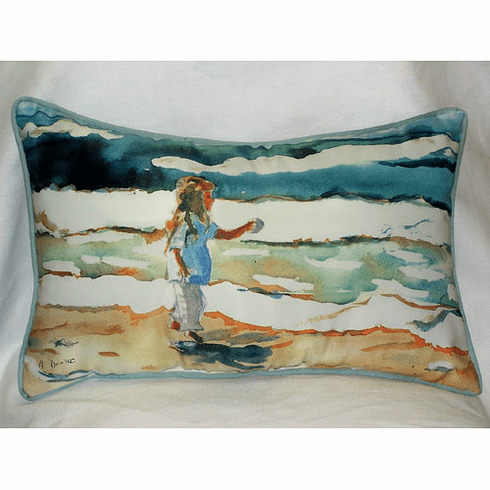 Girl at the Beach Indoor and Outdoor Pillow